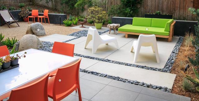 图片欣赏:别墅花园,砾石铺装,鹅卵石点景